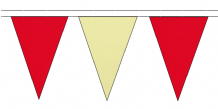 RED AND BEIGE TRIANGULAR BUNTING - 10m / 20m / 50m LENGTHS